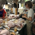 Prepping and injecting the turkeys the night before.