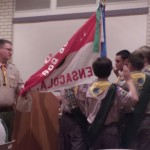 Scoutmaster Daniel Akerman wirh new leaders accepting their new positions